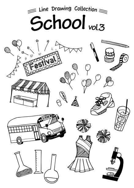 school 3 -line drawing collection- - high school sports stock illustrations