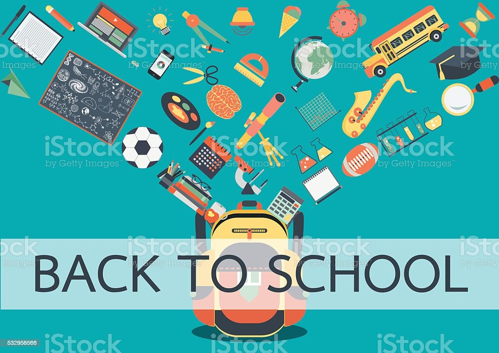 School accessories flowing into school bag vector art illustration