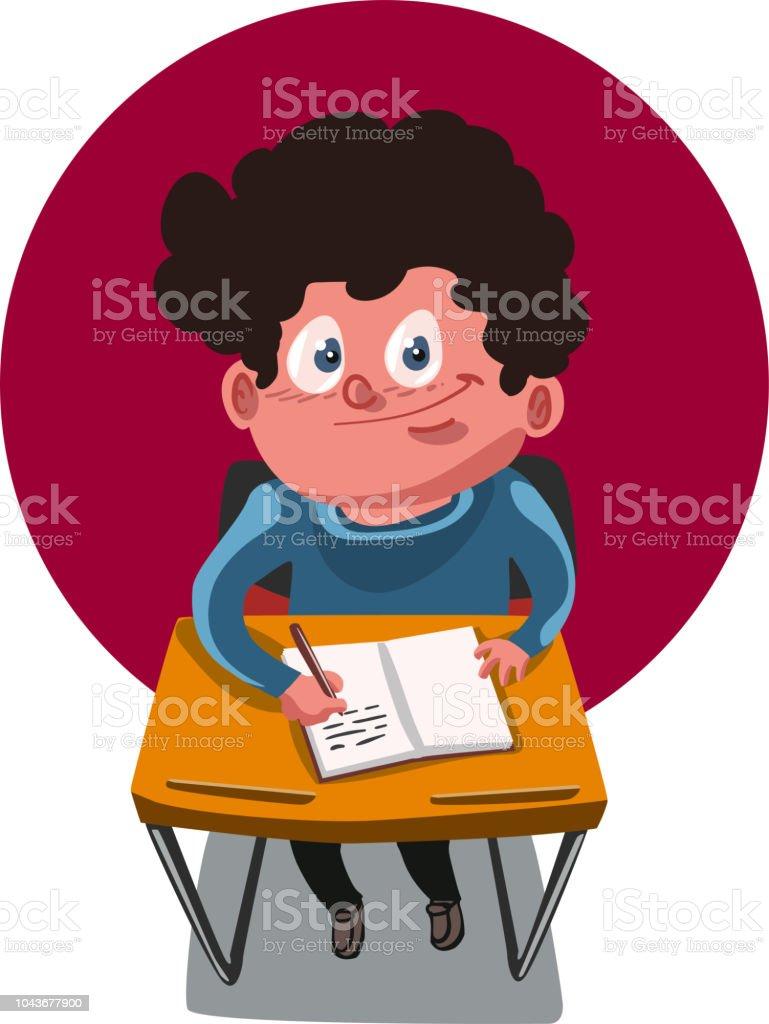 Ilustración De Niños En Edad Escolar Sentados En El Escritorio Y