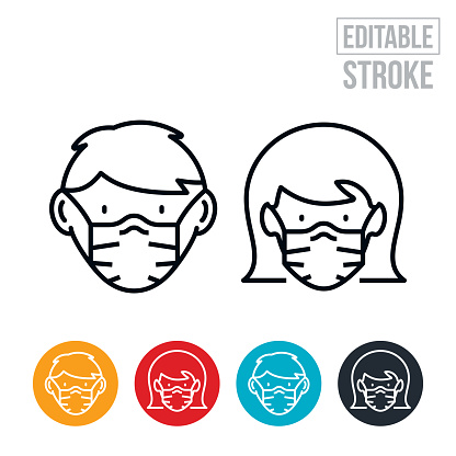 School Aged Boy and Girl Wearing Face Masks Thin Line Icons - Editable Stroke