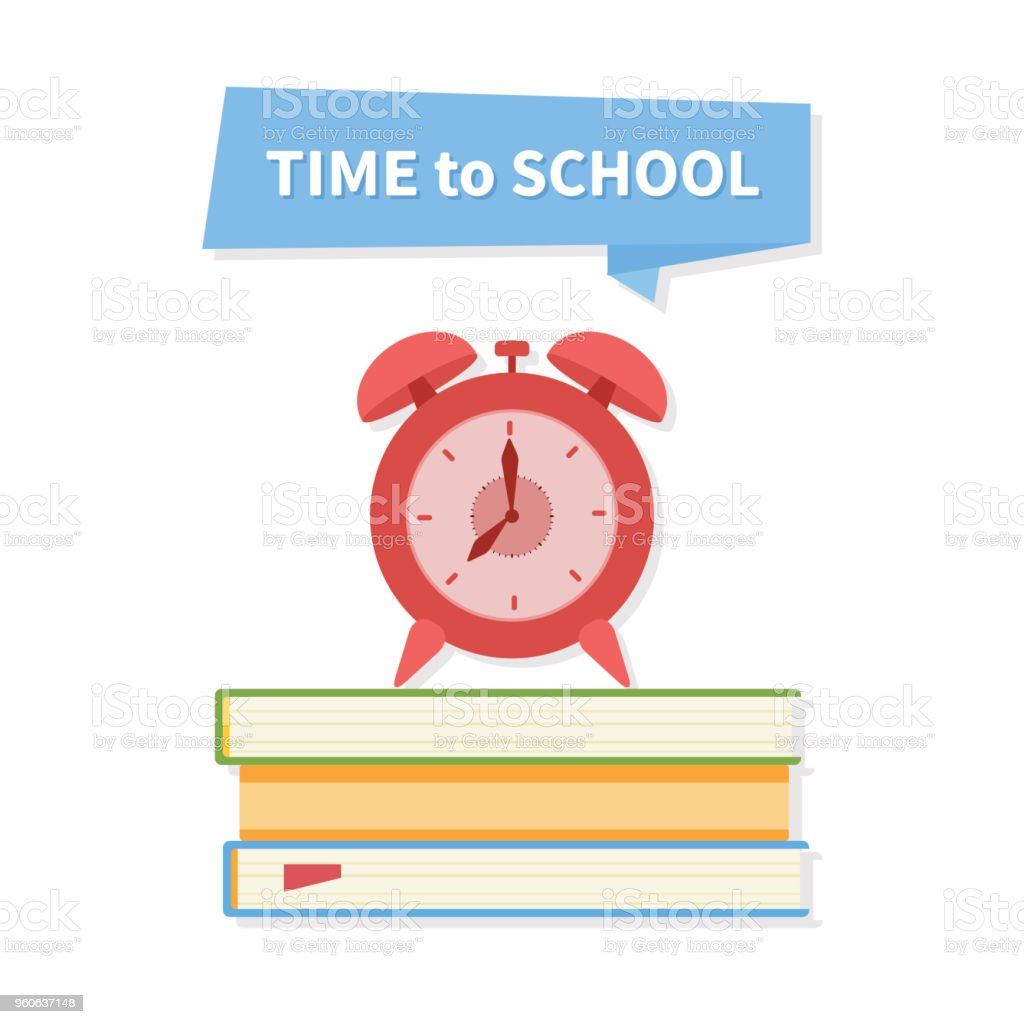 Schulewecker Auf Einem Stapel Bücher Zeit Für Schule Text Auf Dem ...