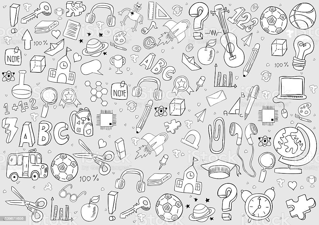 school and education background drawing by hand vector いたずら