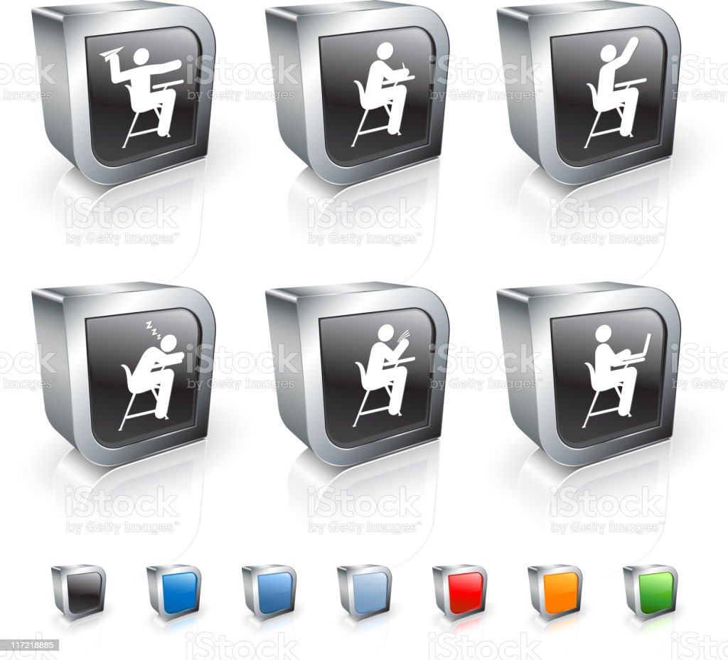 school and education classroom 3D royalty free vector icon set royalty-free stock vector art