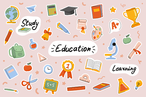 School and education cute stickers template set. Bundle of textbooks, stationery supply, science, study lessons, classroom objects. Scrapbooking elements. Vector illustration in flat cartoon design