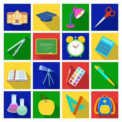 School And Education Flat Icons In Set Collection For Designcollege Equipment And Accessories Vector Symbol Stock Web Illustration - Arte vetorial de stock e mais imagens de Acessório