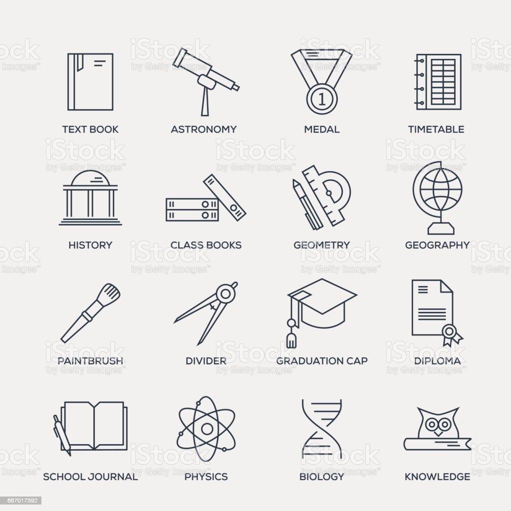 Escuela y educación conjunto de iconos - serie - ilustración de arte vectorial