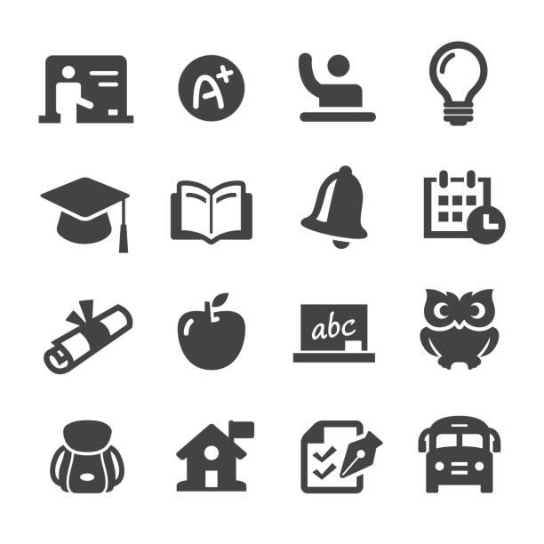 schule und bildung ikonen - acme-serie - gymnasium stock-grafiken, -clipart, -cartoons und -symbole
