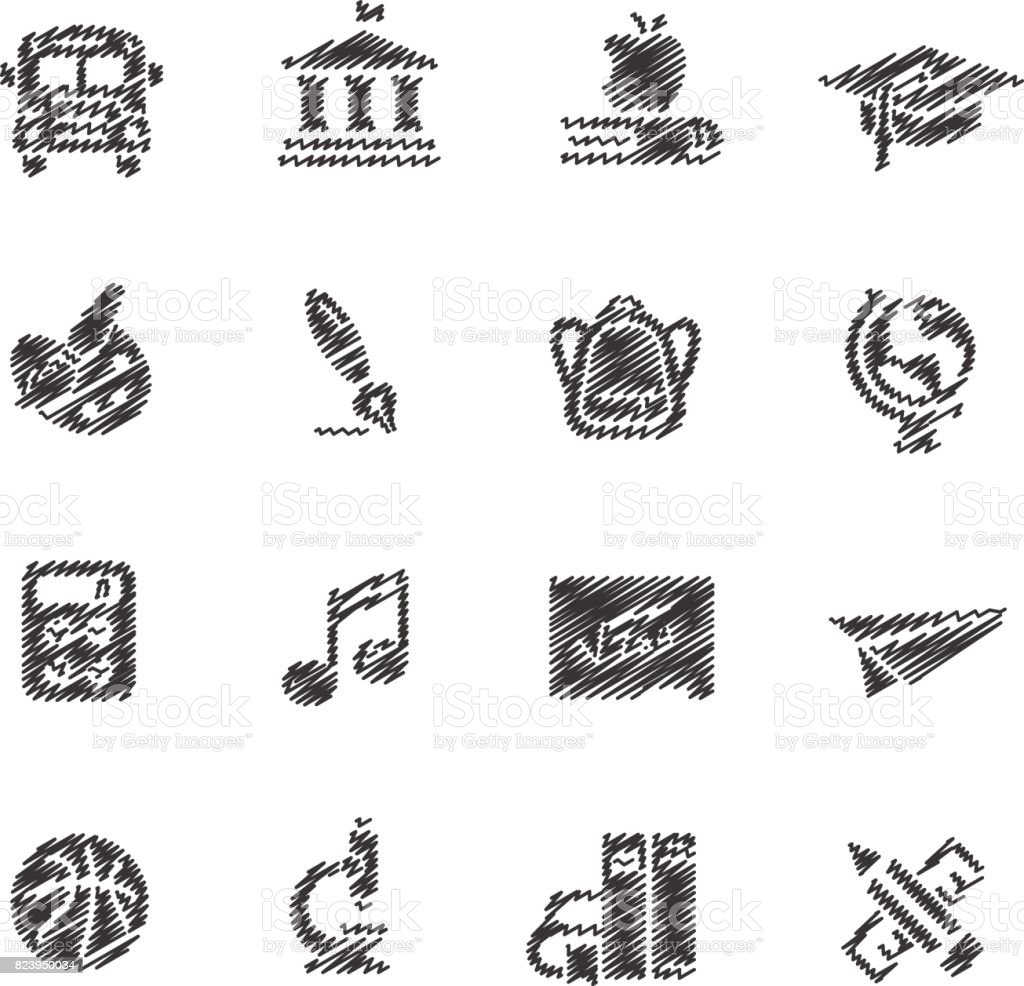 School and education icons // Scribble series vector art illustration