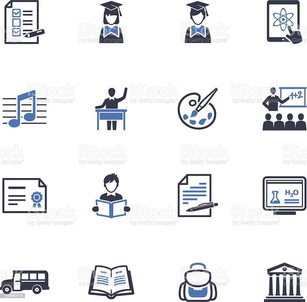 학교 교육 아이콘 세트 2)-파란색 시리즈 royalty-free 학교 교육 아이콘 세트 2파란색 시리즈 공부에 대한 스톡 벡터 아트 및 기타 이미지