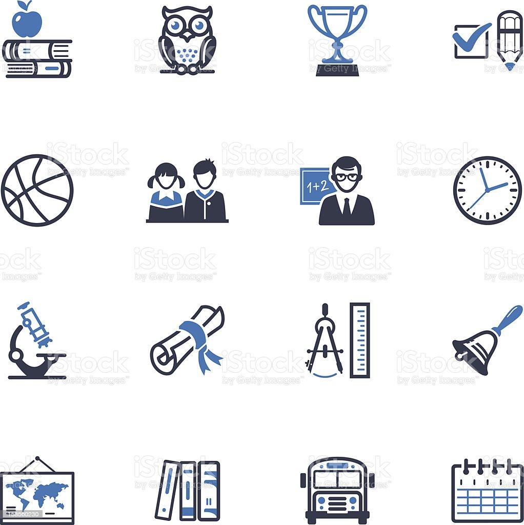 Escuela y educación iconos conjunto 3-serie azul - ilustración de arte vectorial