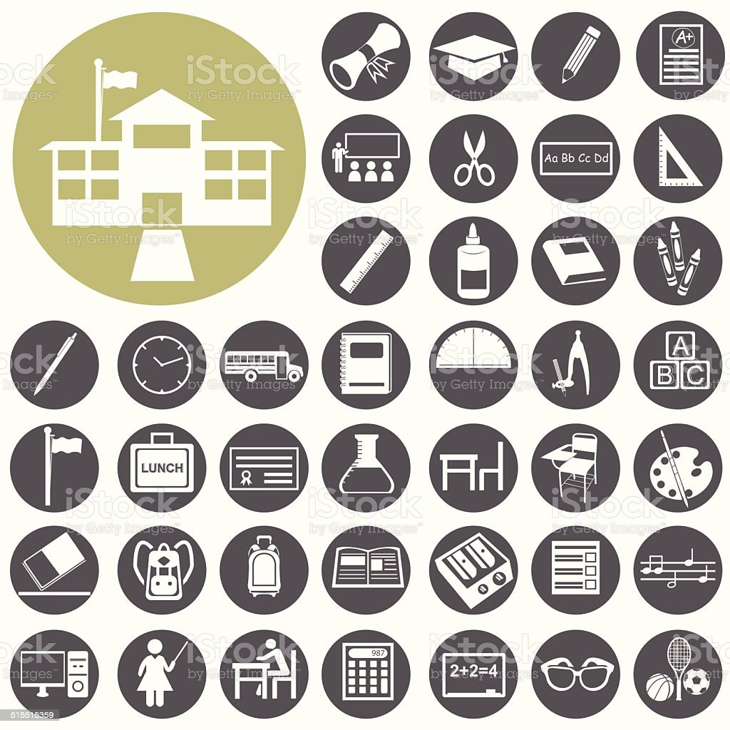 School and Education icons set. Illustration eps10 vector art illustration
