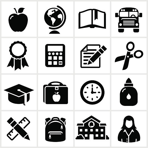 school and education icons - lunch box stock illustrations, clip art, cartoons, & icons