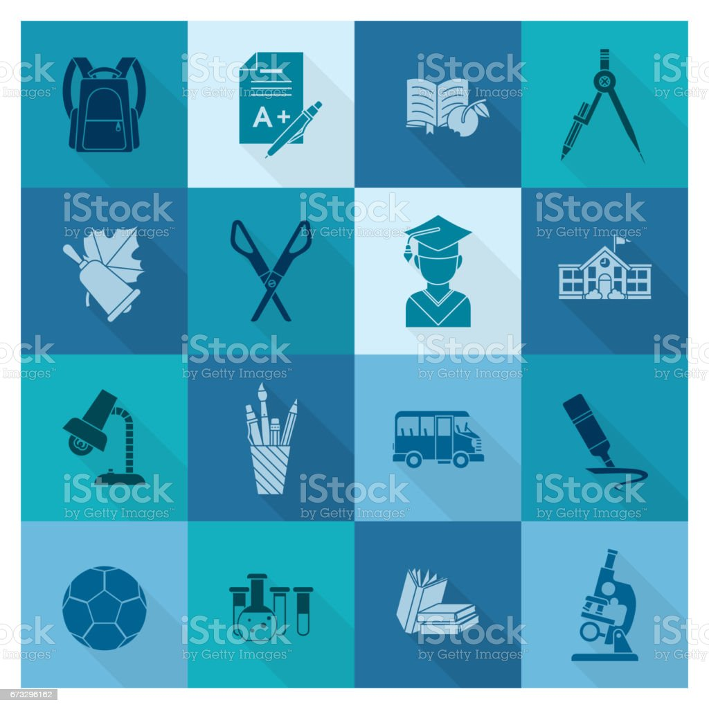 School and Education Icons royalty-free school and education icons stock vector art & more images of blue