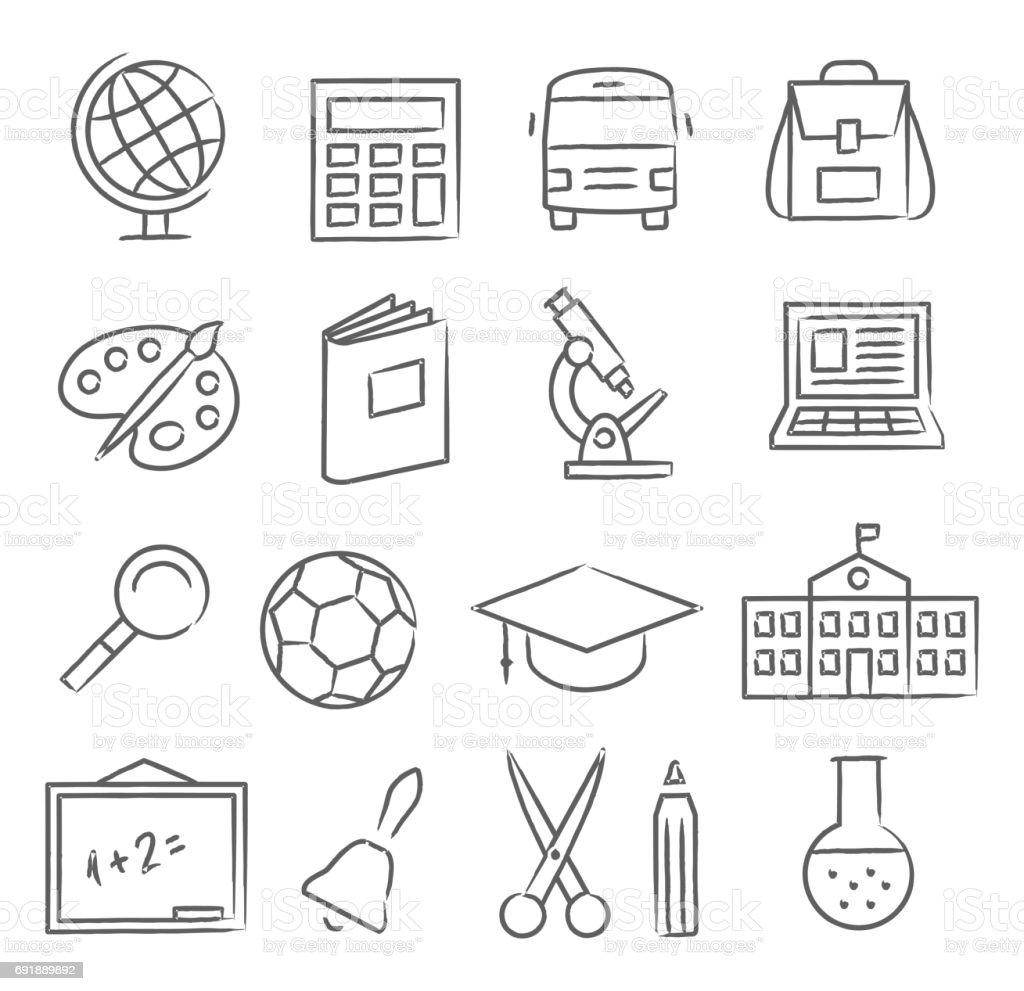 Escuela y educación iconos - ilustración de arte vectorial