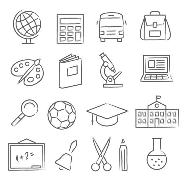 ilustraciones, imágenes clip art, dibujos animados e iconos de stock de escuela y educación iconos - autobuses escolares