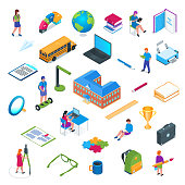 School and education isometric icon set. Modern vector illustration. Images of children, students and layouts of school stationery.