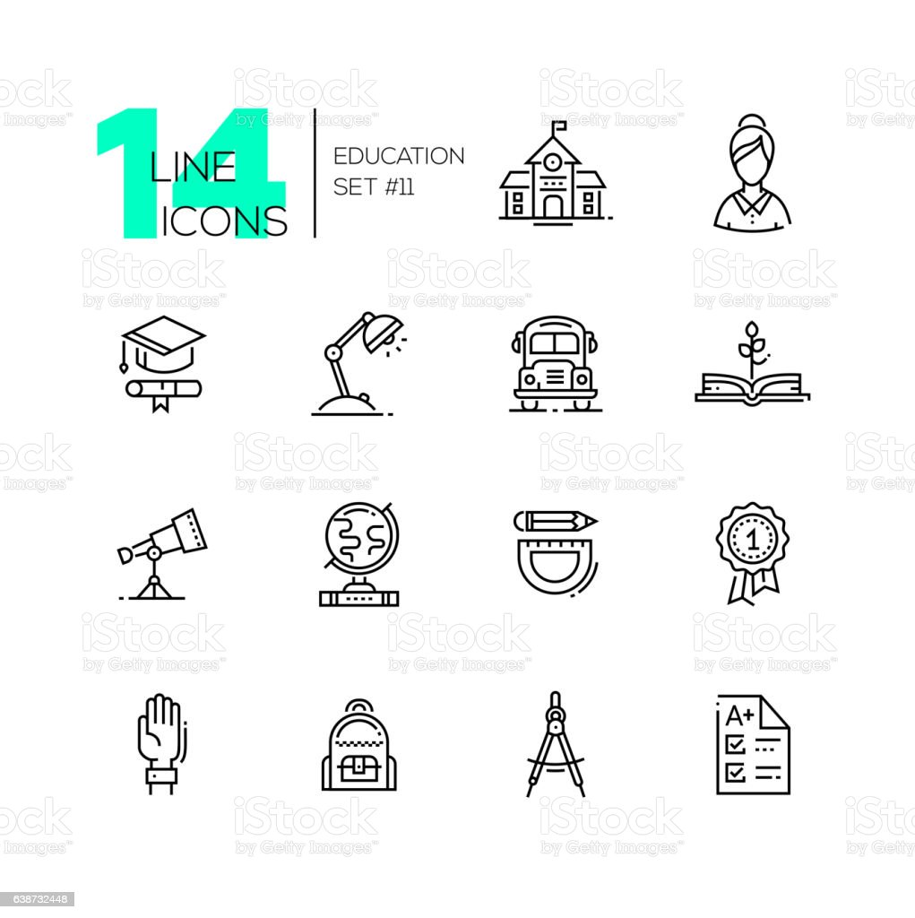 School and Education - line icons set vector art illustration