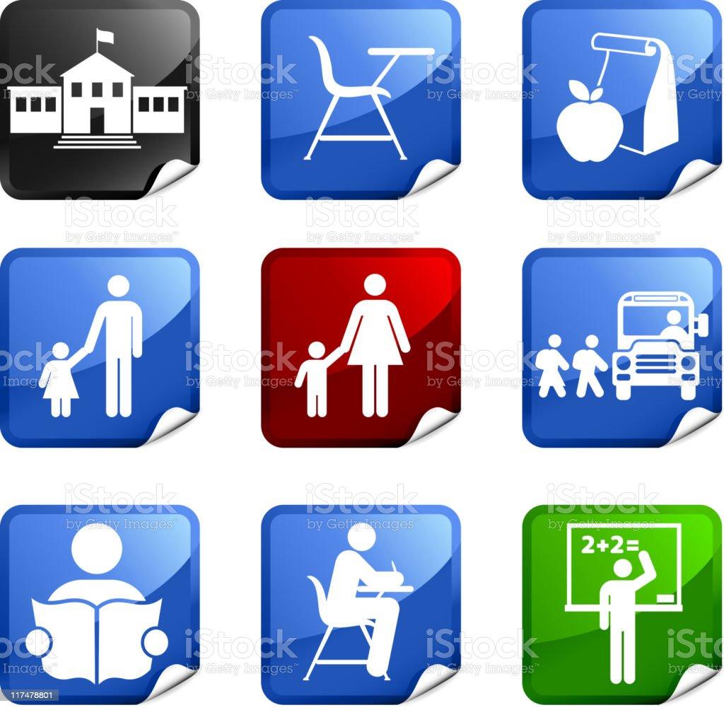 school and education nine royalty free vector icon set vector art illustration