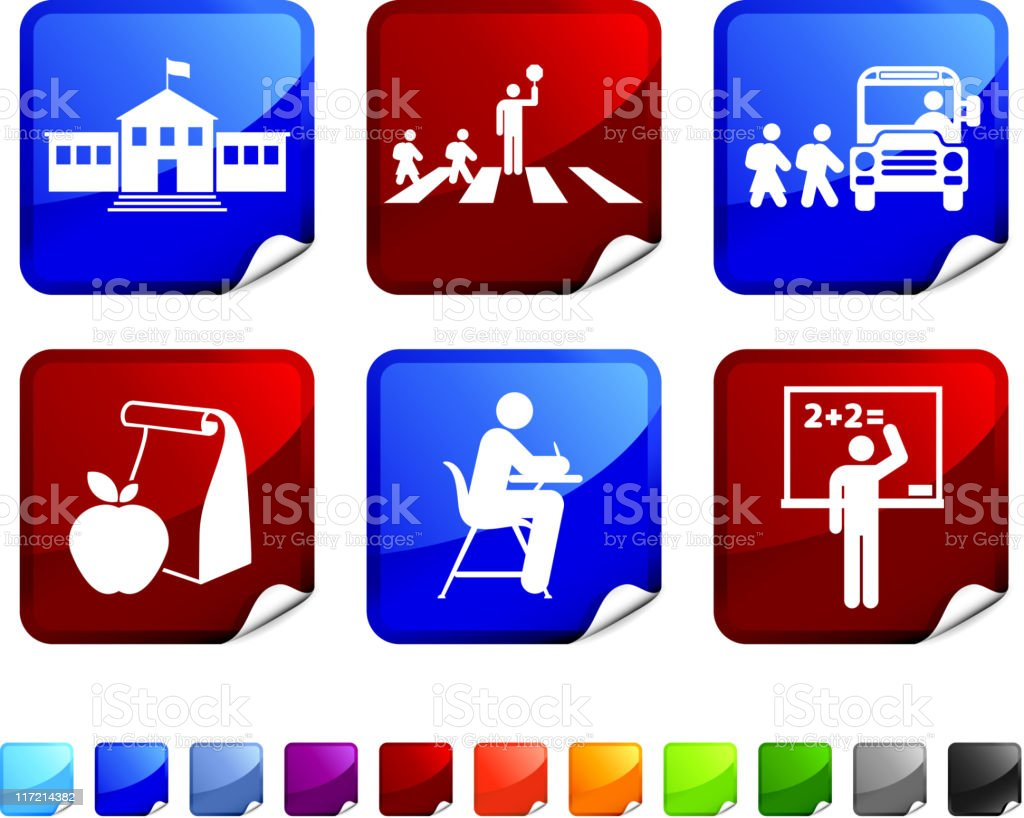 school and education royalty free vector icon set vector art illustration