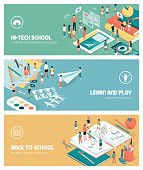 School, education and learning banners set with kids, teachers and objects