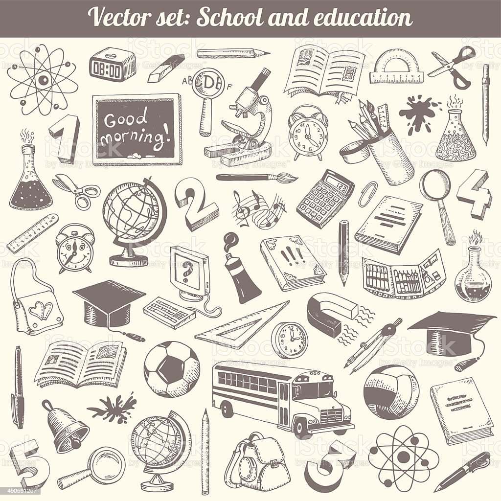School And Education Vector Set royalty-free school and education vector set stock vector art & more images of alarm clock