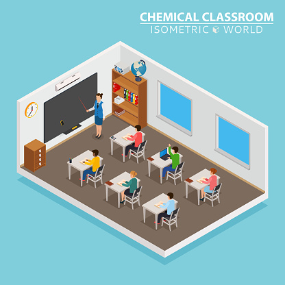 School and learning isometric concept with teacher and children on blue background