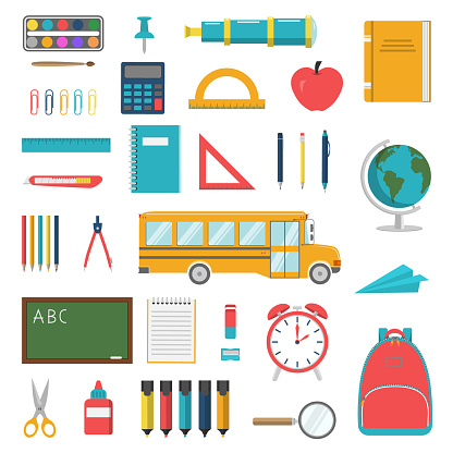 School and Stationery Flat Style Set