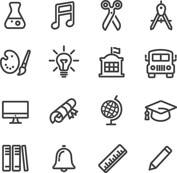 school and subject icons - line series - part of a series stock illustrations, clip art, cartoons, & icons