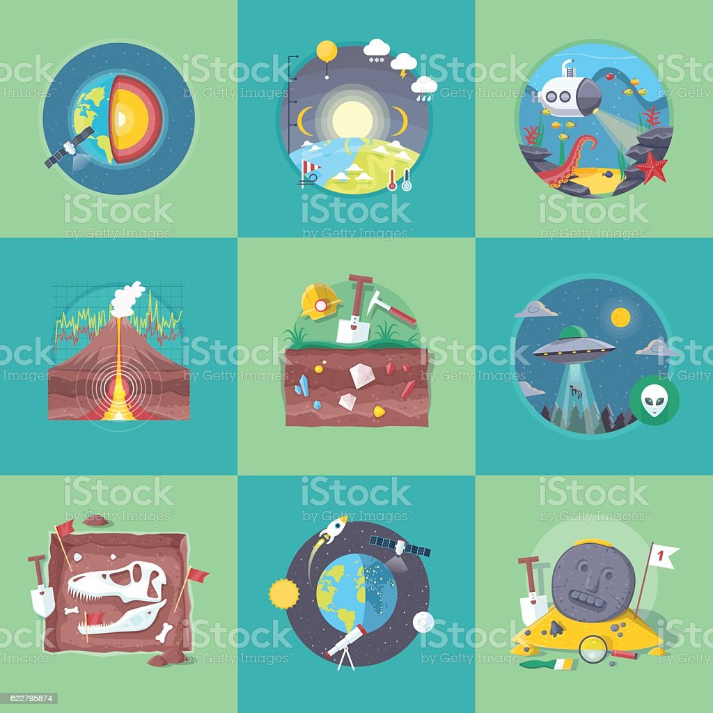 School and university learning disciplines. Vector flat cartoon illustrations set. ベクターアートイラスト