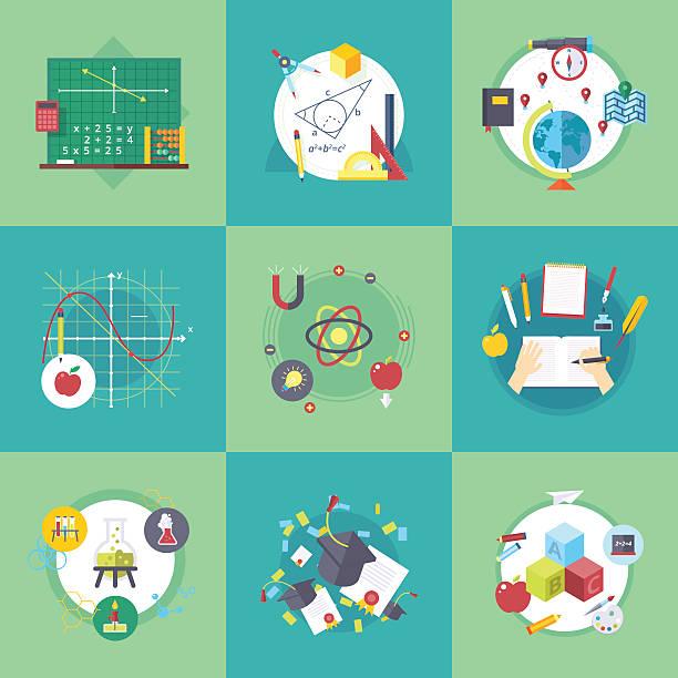 school and university learning disciplines. vector flat cartoon illustrations set. - 数学の授業点のイラスト素材/クリップアート素材/マンガ素材/アイコン素材