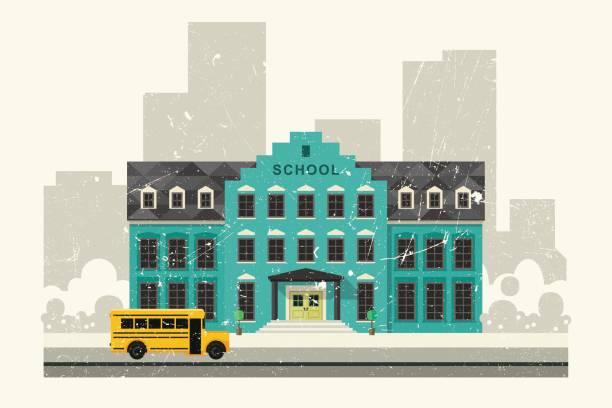 schule und gelben bus - grundschule stock-grafiken, -clipart, -cartoons und -symbole