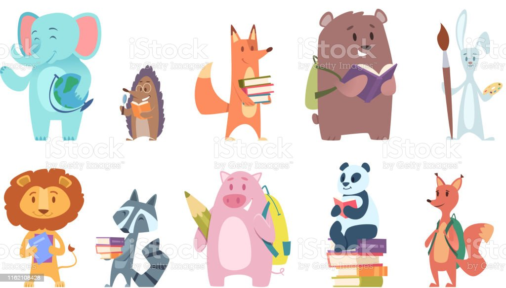 School animals. Funny zoo kids with backpacks and other school...