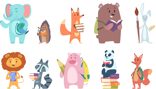 School animals. Funny zoo kids with backpacks and other school equipment squirrel elephant bear fox vector characters