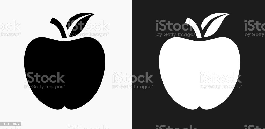 School Apple Icon on Black and White Vector Backgrounds vector art illustration