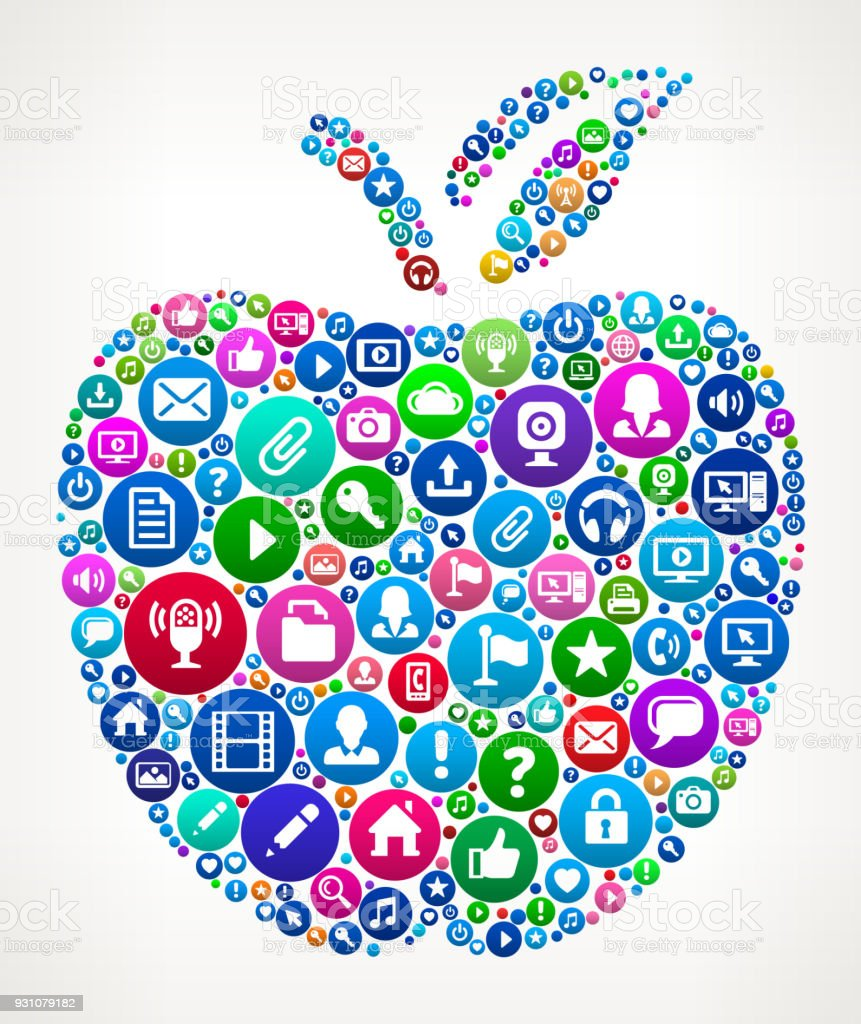 School Apple Internet Communication Technology Icon Pattern vector art illustration