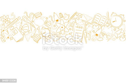 School background with funny sketch and copyspace. Vector.