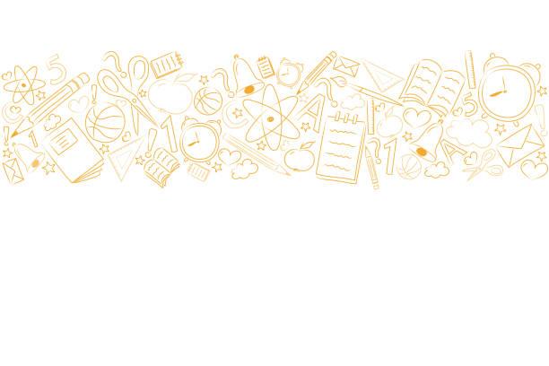 ilustraciones, imágenes clip art, dibujos animados e iconos de stock de fondo de escuela con peña y copyspace. vector. - regreso a clases