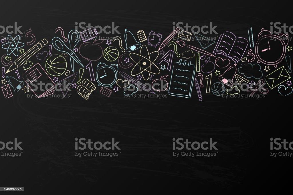 Antecedentes de la escuela con mano dibujado accesorios en pizarra. Vector. - ilustración de arte vectorial