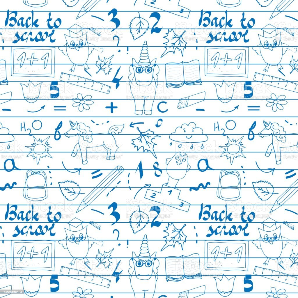 School background with hand drawn school supplies, Back to School...