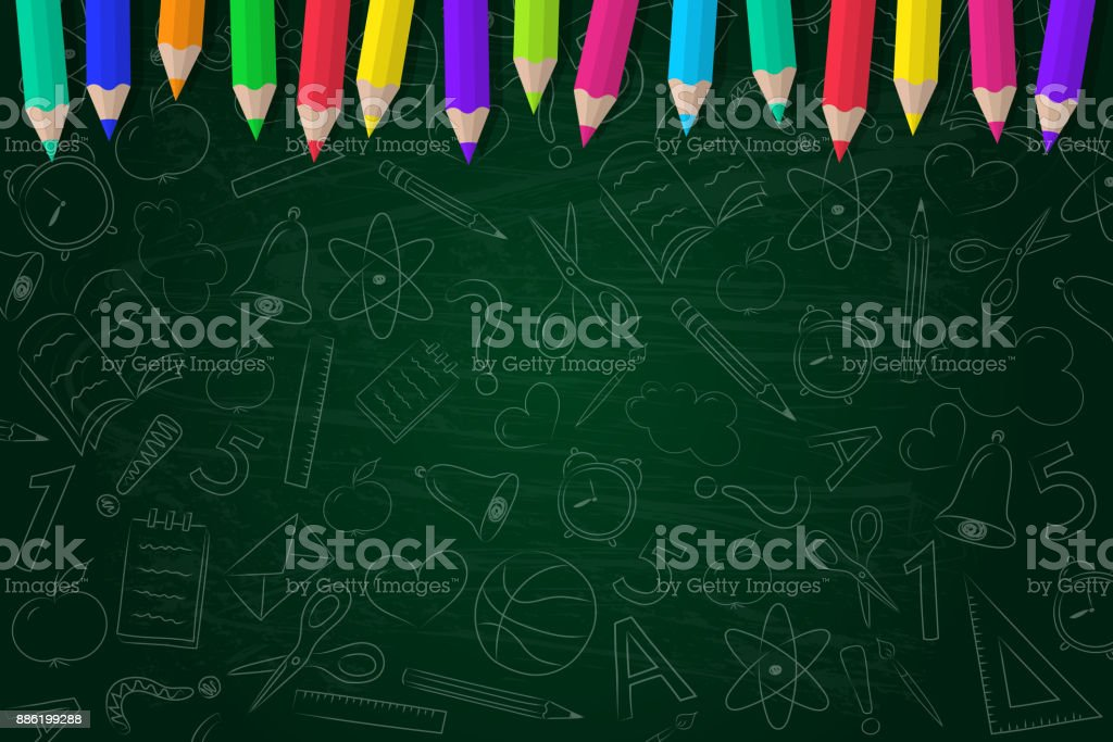 School background with scribbles and coloured pencils. Vector. vector art illustration