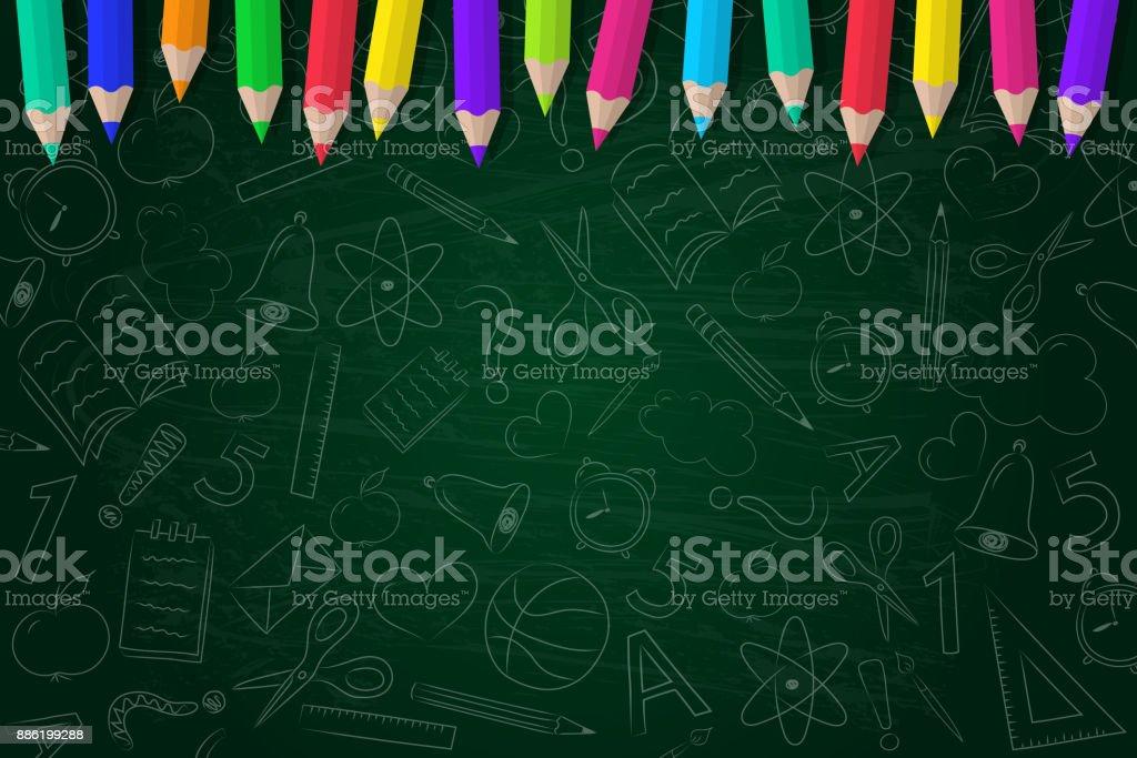 Fondo de escuela con garabatos con lápices de color. Vector. - ilustración de arte vectorial