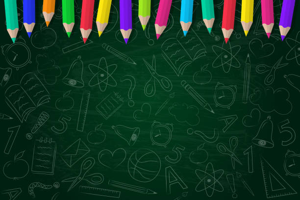 school background with scribbles and coloured pencils. vector. - school stock illustrations