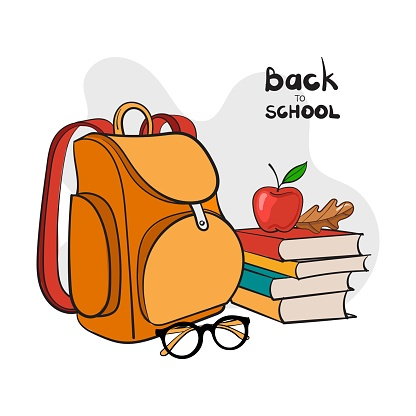 School backpack and other study supplies. Vector illustration.