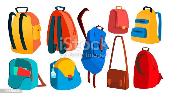 School Backpack Set Vector. Education Object. Kids Equipment. Colorful Schoolbag. Isolated Flat Cartoon Illustration