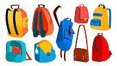 学校のバックパックは、ベクトルを設定します。教育オブジェクト。子供の装置。カラフルなカバン。孤立した漫画の実例