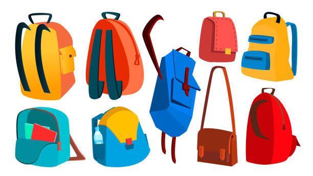 School Backpack Set Vector. Education Object. Kids Equipment. Colorful Schoolbag. Isolated Cartoon Illustration vector art illustration