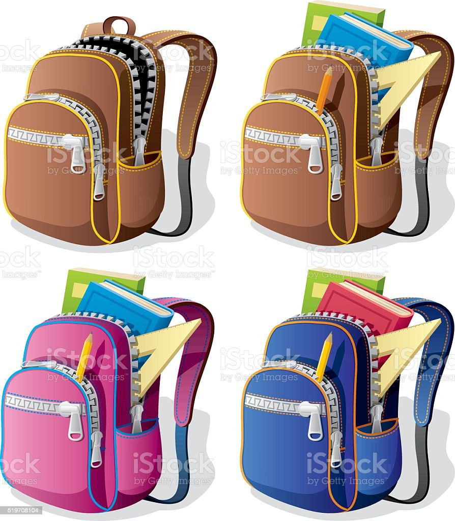 School Backpack​​vectorkunst illustratie