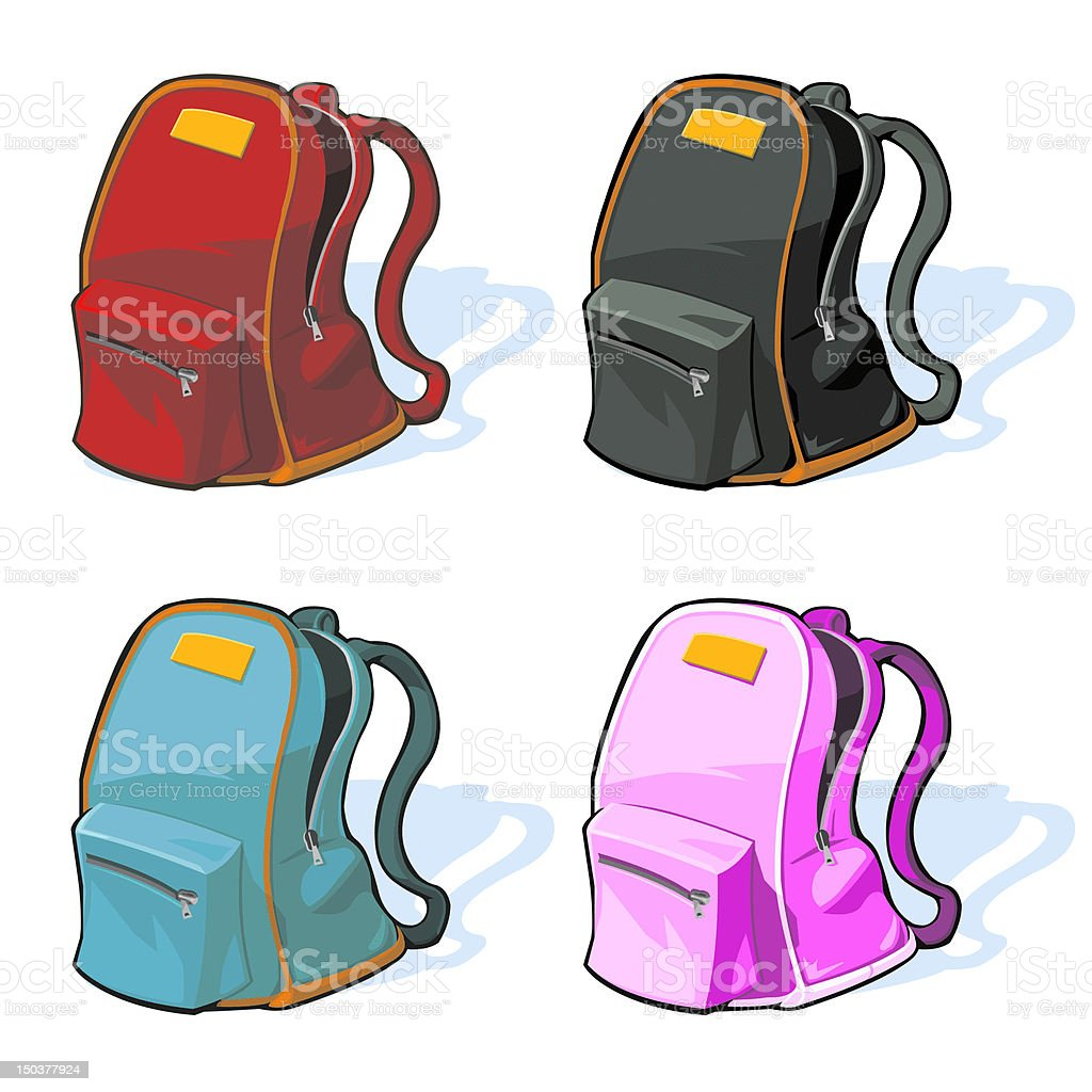 School Backpacks vector art illustration