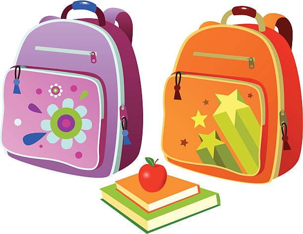 stockillustraties, clipart, cartoons en iconen met school backpacks - schooltas