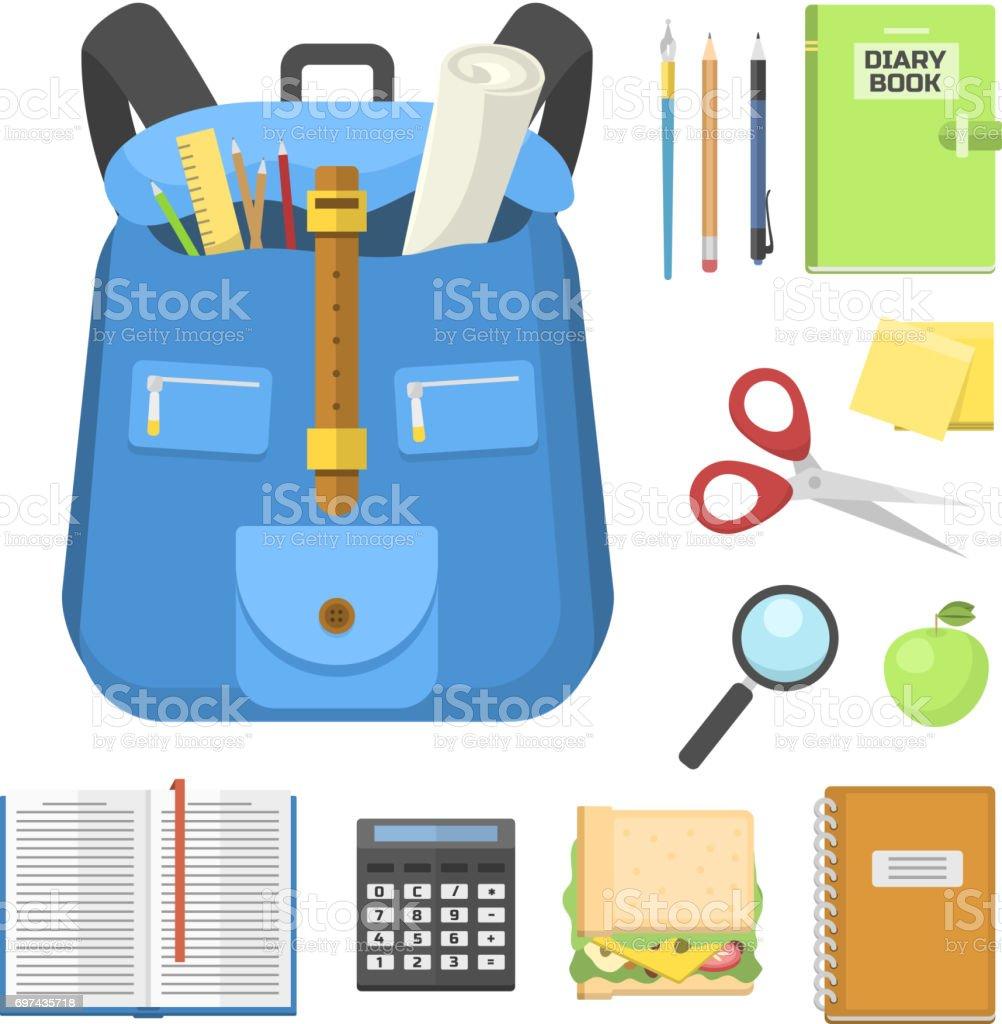 School bag backpack full of supplies children stationary zipper educational sack vector illustration vector art illustration